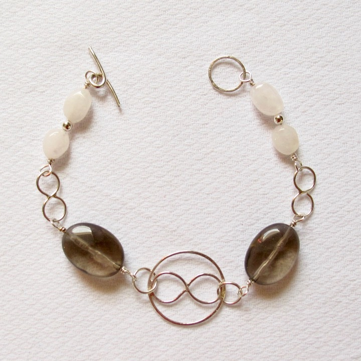 Sterling Silver and Smokey Quartz Bracelet w/ Infinity Circle and Infinity Links