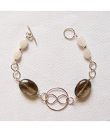 Sterling Silver and Smokey Quartz Bracelet w/ Infinity Circle and Infini... - $50.00