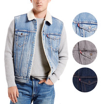 New Levi's Men's Premium Button Up Sherpa Fleece Lined Multi Pocket Denim Vest