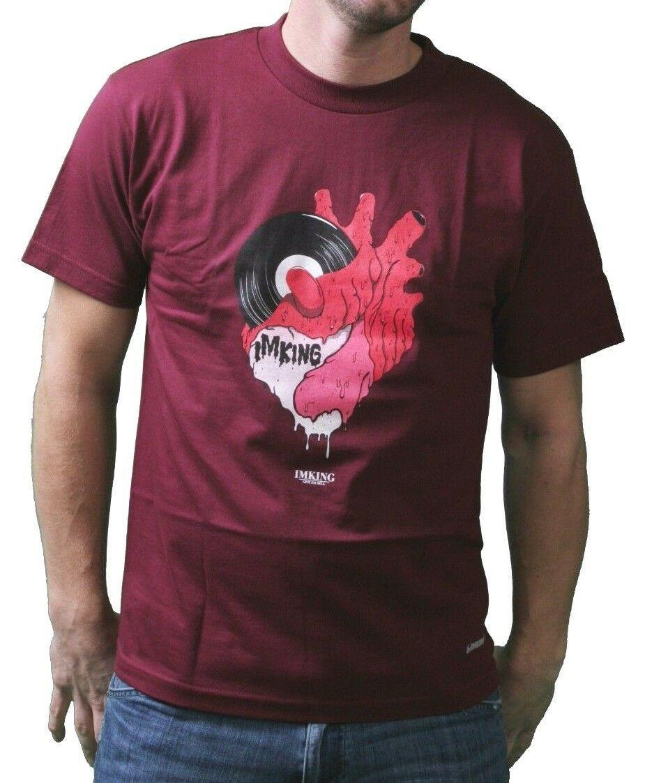 Im King Hommes Bordeaux Reporter Musique à Mon Coeur Standard T-Shirt USA À Nwt
