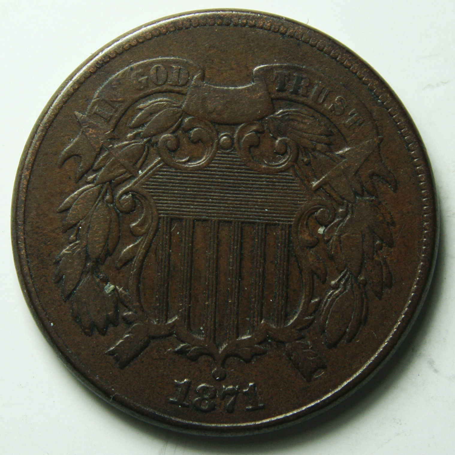 1871 Two 2 Cent Coin Piece Lot # A 1907