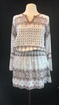 Smash Women's Dagueria Dress Split Neck Long Sleeve Off White Geometric (S/M/L) - $37.50