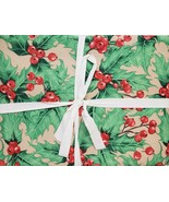"Printed Linen Tablecloth 54""x72"" Oblong, CHRISTMAS HOLLY BERRIES, Laura ... - $21.77"