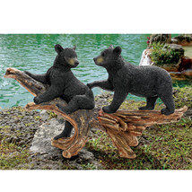 Mischievous Bear Cubs Statue Black Realistic Hand Painted Outdoor Lawn G... - $178.15