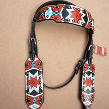 Western Horse Headstall Tack Bridle American Leather Aztec Tribal Hilason U-1-HS - $63.95