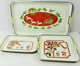 Nested Santa Lacquerware Serving Trays Set of 3 Whimsical Santas Christmas - $24.75