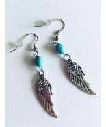 New Turquoise Gemstone Wing Earrings, Black & Gray, Tibetan Wings, Gemst... - $12.50