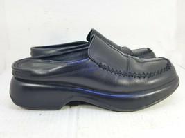 Vintage Dansko Women's Black Stitched Leather Slip On Mules Clogs Shoes 40 10 - $29.68