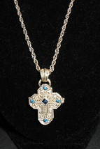VINTAGE SILVER CROSS WITH DARK BLUE STONES OPENS MARKED ON BACK UCMNR - $44.55