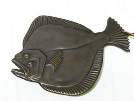 Vtg Cast Bronze Mid Century Modern Flounder Sole Fish Trivet Wall Hangin... - $53.46