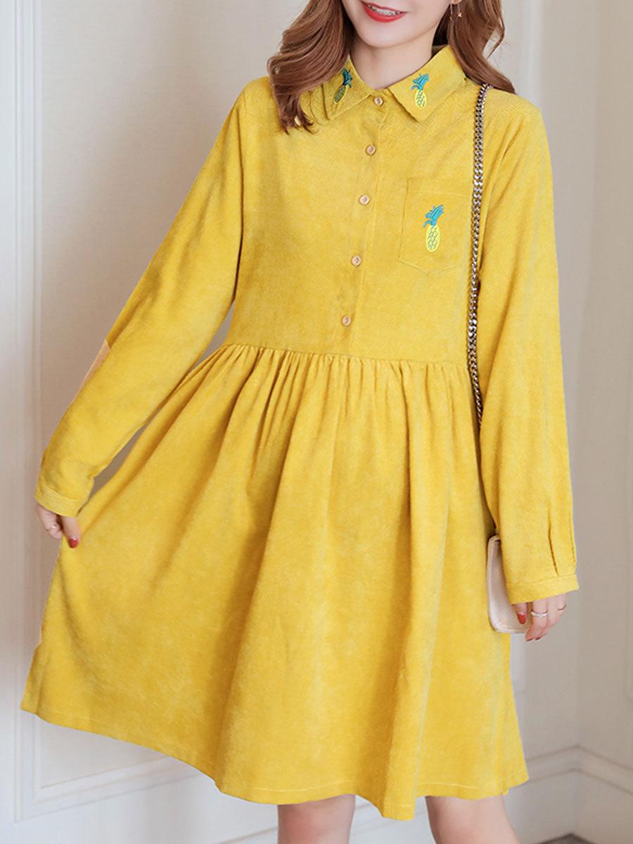 Maternity Dress Solid Color Long Sleeve Turn Down Collar Fashion Shirt Dress image 2