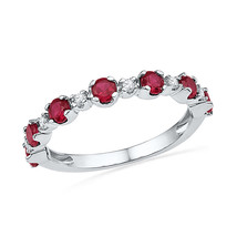 10k White Gold Womens Round Lab-Created Ruby Band Fashion Ring 1-1/10 Cttw - £164.07 GBP