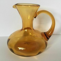 Vintage Antique Handblown Amber Glass Aladdin Pitcher Jug Vase - $26.71