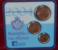 SAN MARINO THREE EURO COINS 2004 IN COINCARD MINT UNC RARE - $21.22