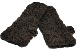 100% Wool Hand Warmers with Fleece Lining - Hand knit - Fingerless- Brown - $18.80