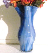Murano Style Handblown Contour Shape Glass Vase Made In ITALY - $75.00