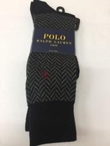 POLO RALPH LAUREN Men's Herringbone Pattern Dress Socks 2 Pairs BLK/CHAR... - $19.16