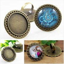 25mm 4pcs Antique Bronze Plated  3 Style Brass Adjustable Ring Settings - $18.37