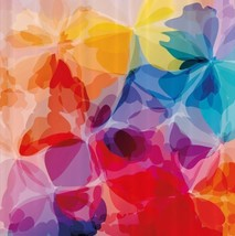 Flower Abstract Floral Fabric Shower Curtain Colorful Petal Rainbow Bloo... - $29.39