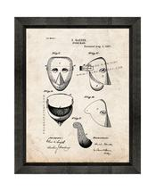 Storm Mask Patent Print Old Look with Beveled Wood Frame - $24.95