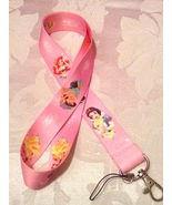 Pretty Disney Princesses Pink Lanyard Strap One Piece Cell Phone Key Ch... - $6.00