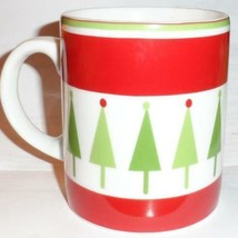 Crate & Barrel Christmas Trees Mug Red White Green - $19.80