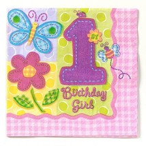 1st Birthday Hugs and Stitches Girls Lunch Dinner Napkins 16 Ct Party Su... - $5.89