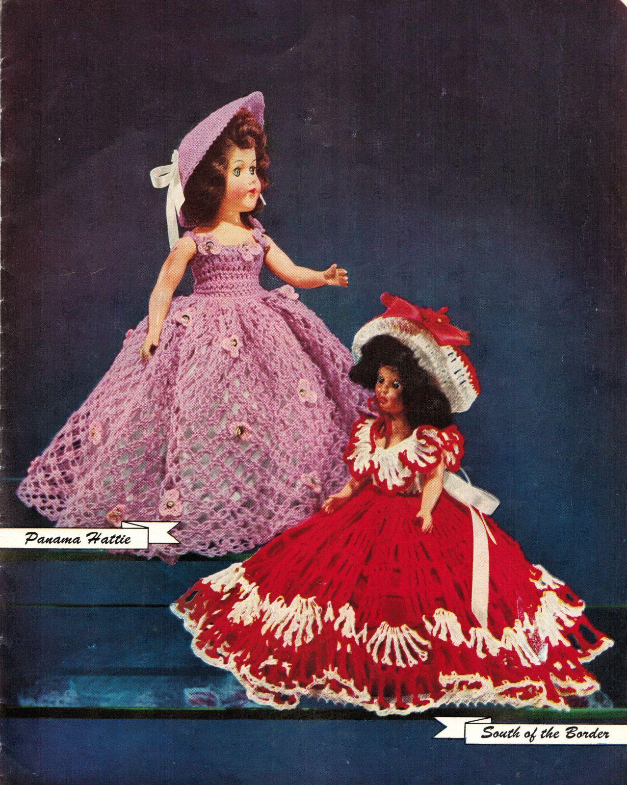 "Vtg 1952 8"" 11"" Americas State Dolls Costume Clothes Georgia Rio Crochet Pattern image 7"