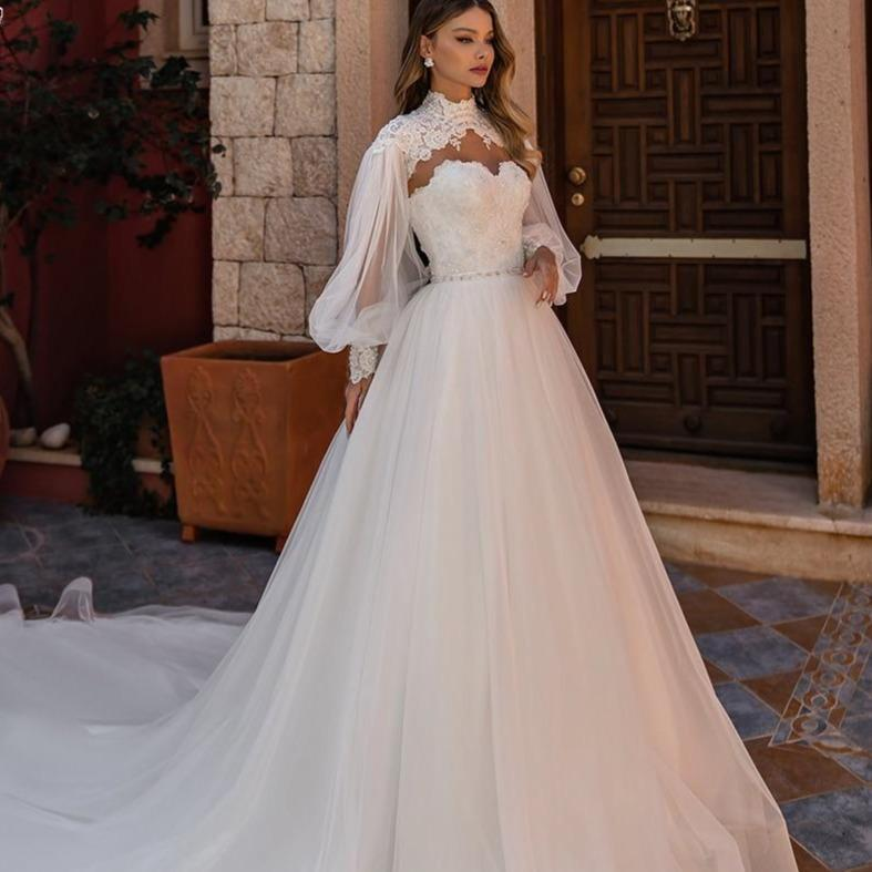 Ugel chic high neck a line lace wedding dress applique beading long sleeve bride dress cathedral