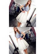 Two Pieces Tulle Knee-Length Homecoming Dress A Line Cocktail Party Gown... - $115.00