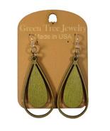 Green Tree Jewelry Water Droplet #1300 Apple Green Wooden Laser Cut Earr... - $9.99