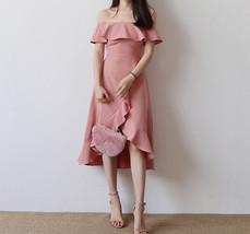 Women Blush Pink Off Shoulder Midi Dress Slit Chiffon Wedding Dress,blush pink image 2