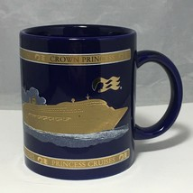 Crown Princess Cruises 22 KT Gold & White over Cobalt Blue Mug - $11.83