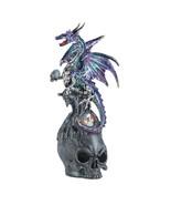 FIERCE MYSTICAL DRAGON Perched on Skull Figurine - $21.30