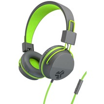 JLab Audio HNEONGRYGRN4 Neon Wired On-Ear Headphones with Mic - Gray, Green - $39.99