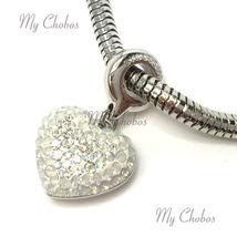 Swarovski European Hang Bracelet Charm Stainless Steel BeCharmed Pave Crystal image 7