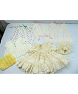 Lot of 5 Vintage Dolls clothes Dress Baptism Nightdress Crochet Vest (Lo... - $45.00