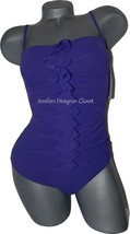 NWT GOTTEX designer swimsuit 8 tummy control purple ruffled front ruched - $72.74