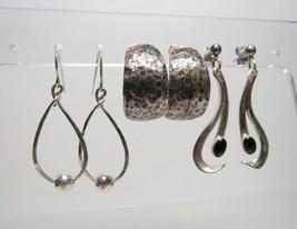 Vintage 3 Pc Lot Solid Sterling Silver Pierced Dangling Hoop Earrings 17.7 Grams - $44.53