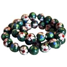 "Vintage Green Based Floral Cloisonné 20"" Hand knotted Necklace - $89.99"