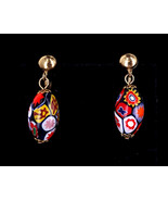 Vintage Millefiori Gold Plated Murano Glass Floral Bead Drop Dangle Earr... - $107.99