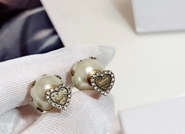"Authentic Christian Dior Crystal Heart Tribal ""DIOR TRIBALES"" Earrings Gold image 3"