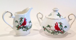 Grace's Teaware Red Cardinal & Holly Covered Sugar Bowl & Creamer - $26.99