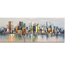 Fasdi-ART Paintings, 24X60INCH Paintings,Oil Painting Moden Cityscape La... - $137.42