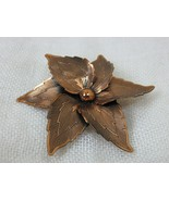 Vintage 1950 Copper Floral Pin Brooch 2.5 inch Round Hand Crafted Unmarked  - $69.25