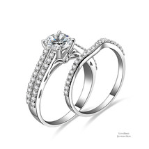 1 ct Round Bridge Accent 925 Sterling Silver Cubic Zirconia Engagement Ring Set - $52.56