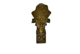 Brass Made Statue Of Asian Face with Egyptian C... - $13.00