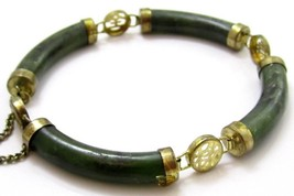 Chinese Vintage Green Jade Gemstone Cylinders Gold Toned Bracelet*203D - $34.64