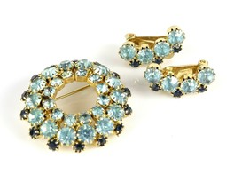 Costume Fashion Aqua Cobalt Blue Circle Round Rhinestone Brooch Pin Earr... - $35.26