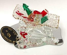 Hand Sculpted Glass Sleigh on Mirror with Teddy Bear - $34.65